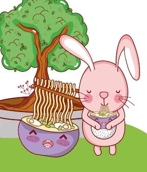 Lapin et nourriture kawaii
