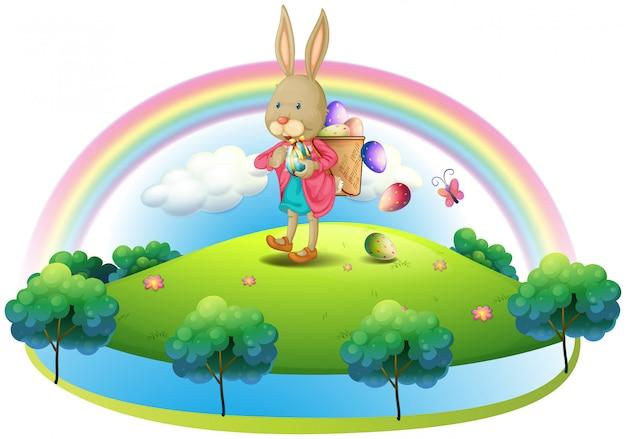 Un lapin avec un panier d'œufs