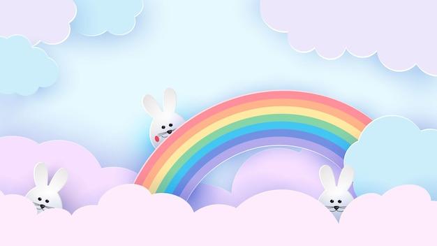 Lapin de pâques sur un arc en ciel. le ciel est aux couleurs pastel. illustration