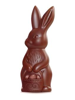 Lapin de pâques au chocolat sur illustration blanche