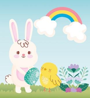 Lapin de pâques joyeux avec oeuf poulet arc en ciel fleurs champ illustration