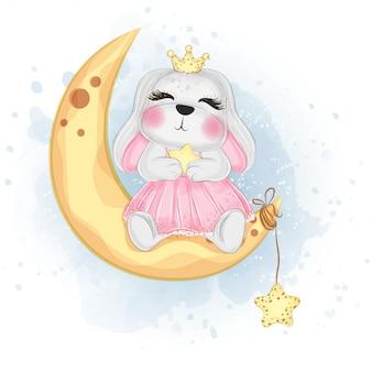 Lapin de pâques mignon sur l'illustration aquarelle de lune