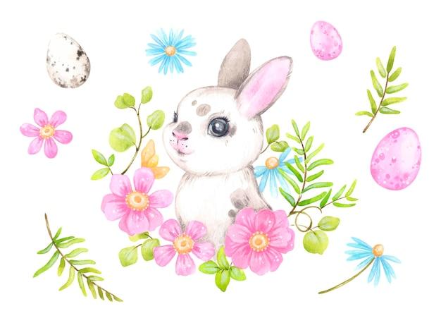 Lapin de pâques mignon en illustration de fleurs