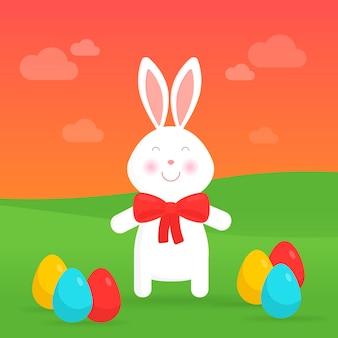 Lapin de pâques mignon en illustration vectorielle nature. pour les cartes de pâques, les bannières, les félicitations et les sites web.