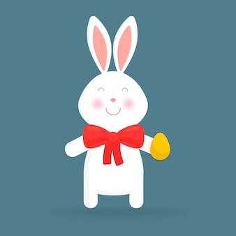 Lapin de pâques mignon isolé illustration vectorielle. pour les cartes de pâques, les bannières, les félicitations.