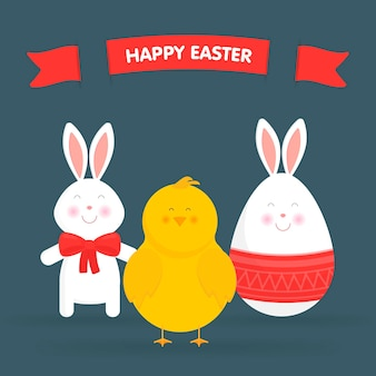 Lapin de pâques mignon, poulet et oeuf isolé illustration vectorielle. pour les cartes de pâques, les bannières, les félicitations.