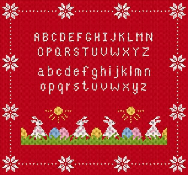 Lapin de pâques et oeufs avec illustration de l'alphabet