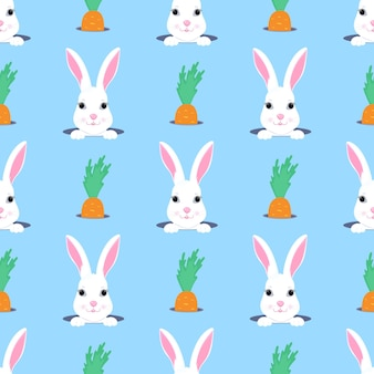 Le lapin de pâques regarde par le trou. modèle sans couture enfant lapin et carotte. peut être utilisé pour la décoration de la crèche, des vêtements pour enfants, des accessoires pour enfants, des emballages cadeaux, du papier numérique.