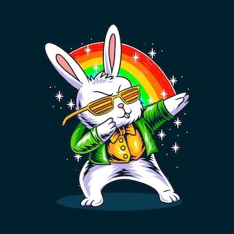 Le lapin de pâques tamponnant dans sa saint-patrick
