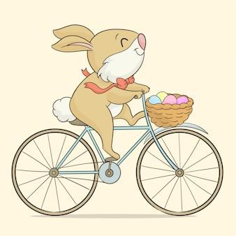 Lapin de pâques en vélo