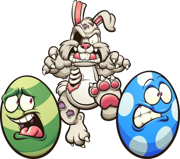 Lapin de pâques zombie chassant les œufs.