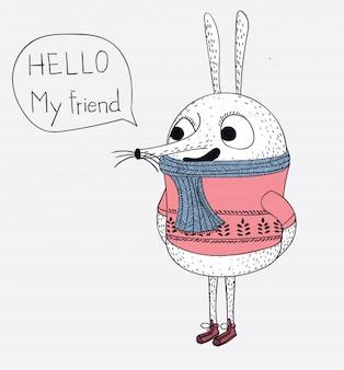 Le lapin porte un pull et salue un ami