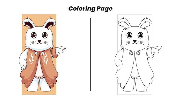 Lapin pose mignon avec coloriage