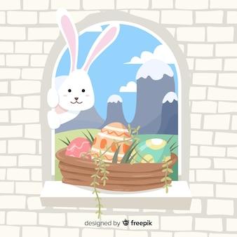 Lapin regardant par la fenêtre fond de jour de pâques