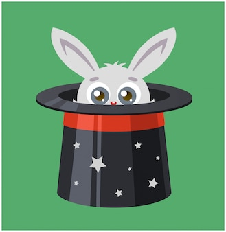 Le lapin s'est caché dans un haut-de-forme. magicien montre un tour. illustration vectorielle d'un lièvre et de la magie.