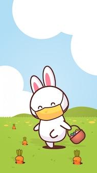 Lapin tenant le panier avec des oeufs portant un masque facial pour empêcher le coronavirus joyeux lapin de pâques autocollant