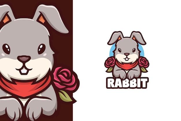 Lapin, tenir, rose, logo, mascotte
