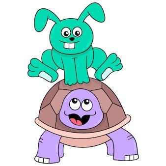 Le lapin et la tortue courent jusqu'à la ligne d'arrivée, art d'illustration vectorielle. doodle icône image kawaii.