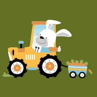 Lapin transportant des carottes avec tracteur, vecteur de dessin animé