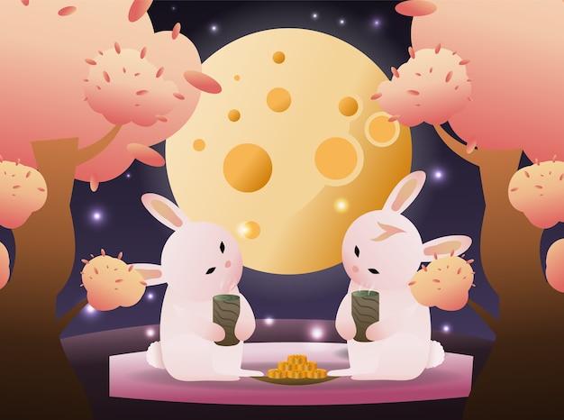 Les lapins buvant du thé et regardant la lune