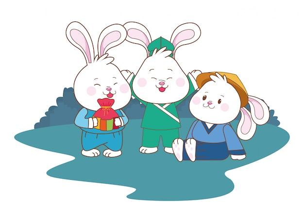 Lapins célébrant les dessins animés du festival de la mi-automne
