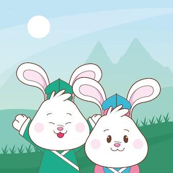 Lapins dans les dessins animés du festival de mi-automne