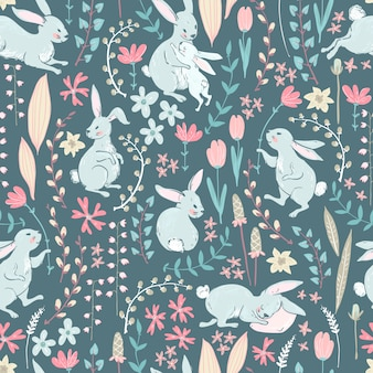 Lapins doux, fleurs et branches, cseamles mignons de pâques
