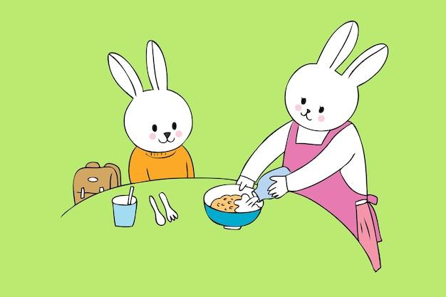 Lapins mignons de dessin animé, manger le vecteur de petit déjeuner.