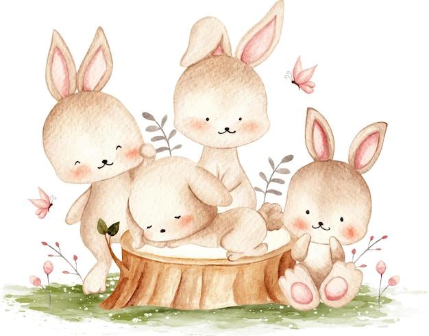 Lapins mignons à l & # 39; illustration aquarelle de jardin