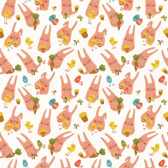 Lapins de pâques heureux mignons avec des oeufs de fleurs de poulets et des carottes modèle sans couture doodle