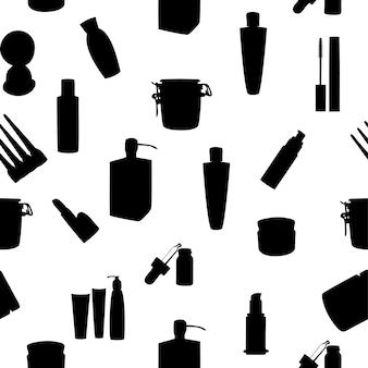 Large gamme d'illustrations vectorielles modèle sans couture de pots cosmétiques