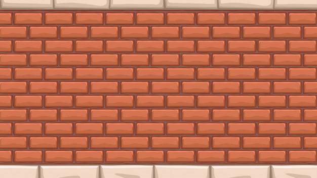 Large mur de briques rouges