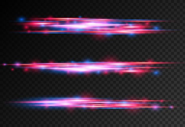 Le laser à effet spécial bleu rouge émet des rayons de lumière horizontaux, la magie du mouvement des lignes rapides en mouvement