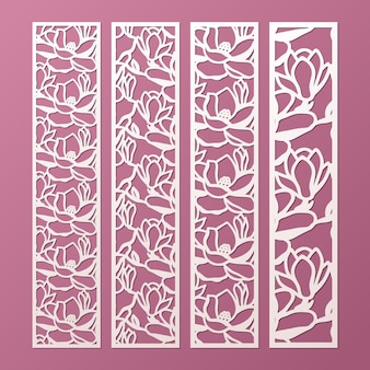 Laser et modèle de panneaux décoratifs découpés avec motif de fleurs de magnolia. marque-page en papier dentelle, modèles de bordure de coupe. panneau de découpage d'armoire.