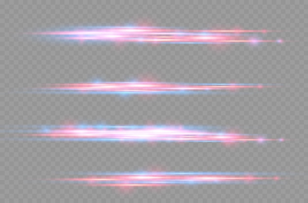 Le laser rouge et bleu émet des rayons de lumière horizontaux brillants de mouvement de ligne scintillant