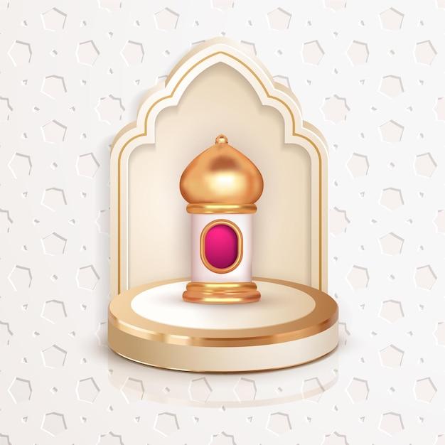 Latern islamique 3d avec podium de luxe islamique
