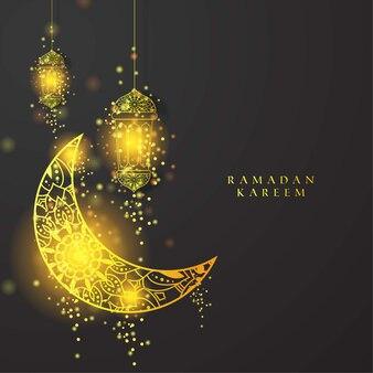 Latern or et lune pour fond de ramadan kareem avec texte et particule