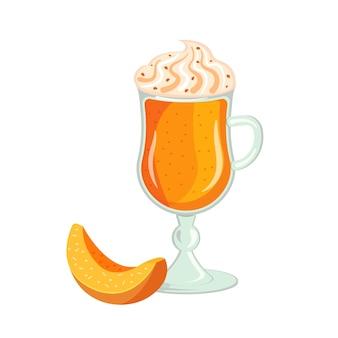 Latte à la citrouille avec crème fouettée en épicerie, saupoudré de pépites de chocolat. illustration vectorielle de boisson boisson végétale automne.
