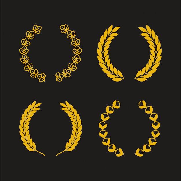 Laurel couronne vecteur monocrome pour la conception de l'actif de l'élément logo