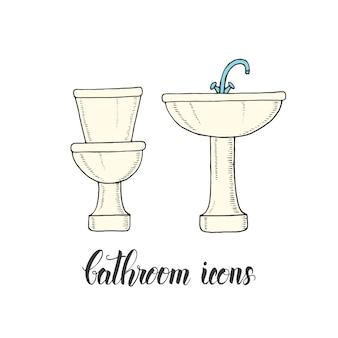Lavabo et cuvette de toilette dessinés à la main vintage dans un style de croquis.