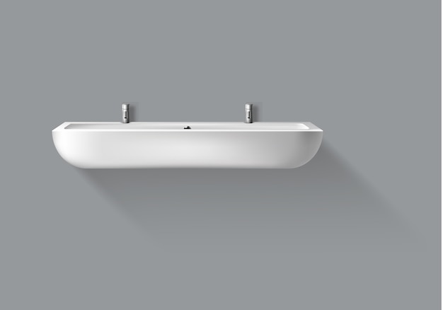 Lavabo réaliste de vecteur avec robinets pour salle de bain