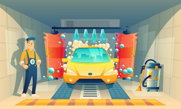 Lavage automatique de voiture, service avec personnage de dessin animé dans une boîte, véhicule jaune à l'intérieur du garag