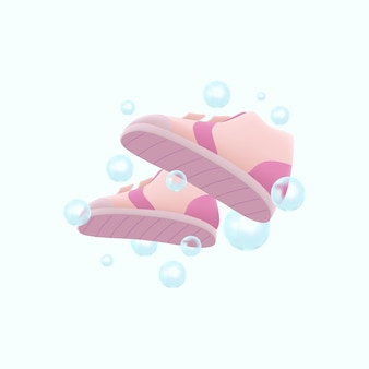 Lavage de chaussures 3d avec illustration à bulles