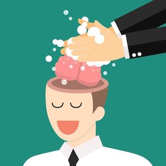 Lavage à la main du cerveau des hommes d'affaires ennemis