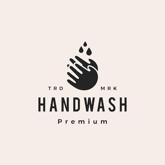 Lavage à la main goutte d'eau hipster vintage logo vector icon illustration