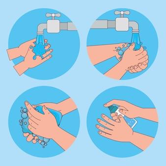 Lavage des mains avec du robinet d'eau et du savon en forme de cercles, hygiène, santé et nettoyage