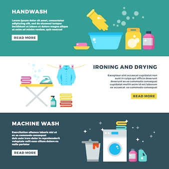 Lavage et séchage du linge, bannière publicitaire pour le service de blanchisserie