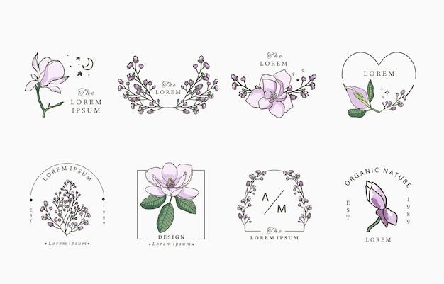 Lavande de beauté, illustration de conception de collection de magnolia