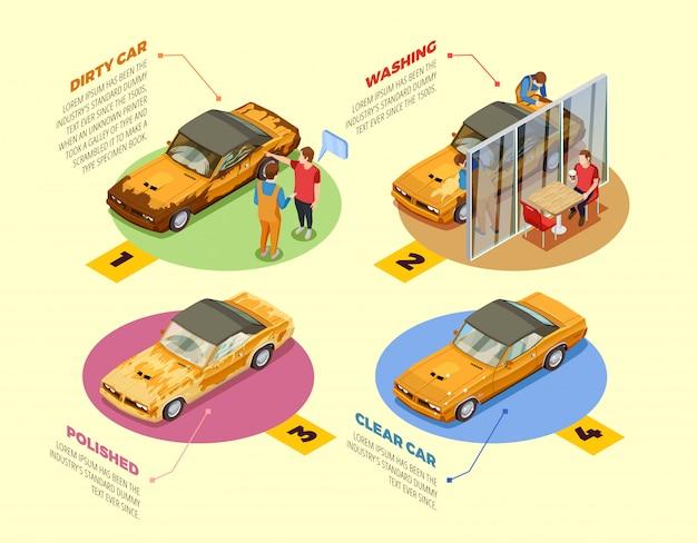 Lave-auto 4 icônes infographiques isométriques
