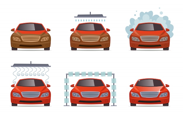 Lave-auto. ensemble de collecte de service de lavage à l'eau de transport automobile
